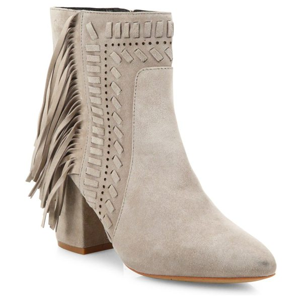 Rebecca Minkoff ilan fringe suede block-heel booties in sand - Fringe and woven trim further boho style of suede...