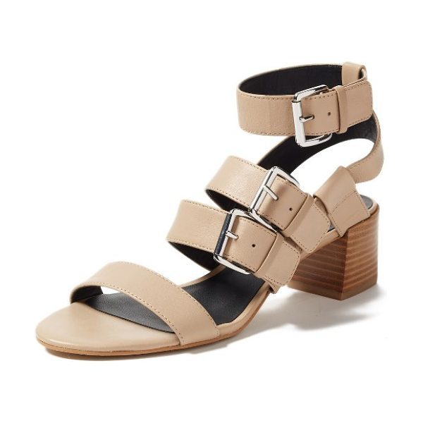 Rebecca Minkoff ilana buckle strap sandal in taupe kid suede - Bold suede straps climb the front of a warm-weather...