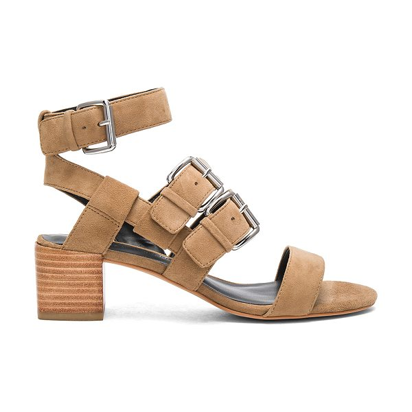 Rebecca Minkoff Ilana Heel in taupe suede - Suede upper with man made sole. Buckle closures. Heel...