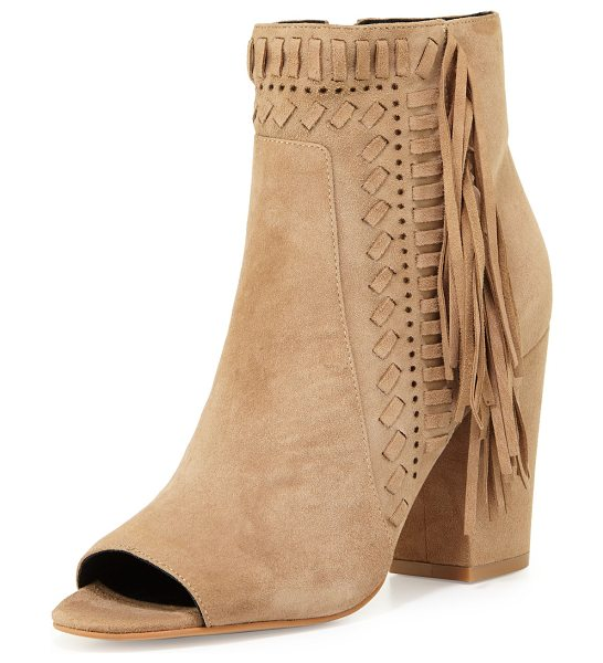Rebecca Minkoff IRIS BOOTIE in taupe - Rebecca Minkoff kid suede bootie with whipstitch trim....