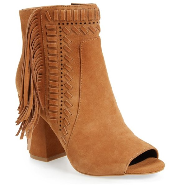 Rebecca Minkoff iris open toe fringe bootie in butterscotch suede - Perforations, geometric topstitching and a mane of...