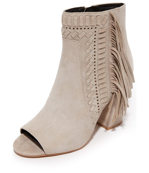 Rebecca Minkoff Iris Open Toe Fringe Booties in sand - Suede Rebecca Minkoff booties gain western charm from...