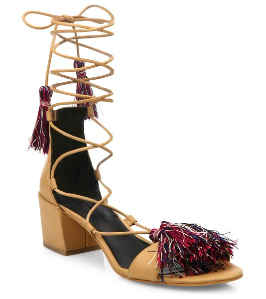 Rebecca Minkoff isla kid leather gladiator sandals in natural - Radiant tassels style this supple gladiator-style pair....