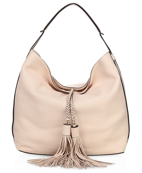 Rebecca Minkoff isobel leather hobo bag in softblush - Slouchy leather silhouette with braided tassel ties....