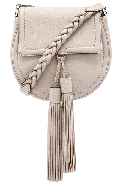 Rebecca Minkoff Isobel saddle bag in taupe - Leather exterior with jacquard fabric lining. Flap top...