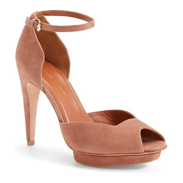 Rebecca Minkoff ivy ankle strap dorsay peep toe pump in burnt sienna - Sun-washed suede lends soft glamour to a stunning...