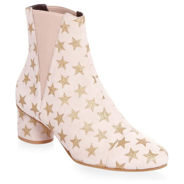 REBECCA MINKOFF izette suede star booties in soft blush - Soft suede ankle boots with metallic star pattern. Self...