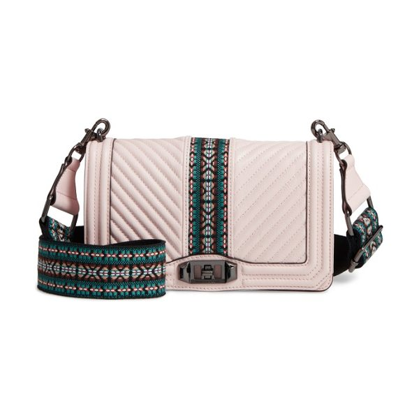 Rebecca Minkoff jacquard love leather crossbody bag with guitar strap in soft blush/ gunmetal hrdwr - A favorite Rebecca Minkoff bag goes vintage with a...