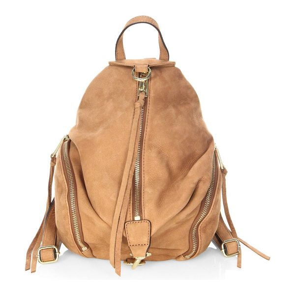"Rebecca Minkoff julian medium nubuck backpack in almond - Uniquely shaped backpack in soft nubuck. Top handle, 3""..."