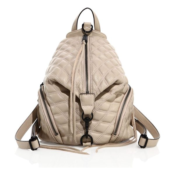 REBECCA MINKOFF julian medium quilted leather backpack in nude - Uniquely shaped backpack in diamond-quilted leather. Top...