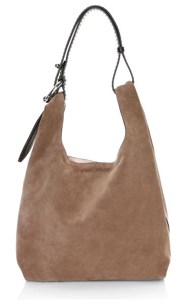 Rebecca Minkoff karlie studded suede hobo bag in mink - Studded strap adds a subtle edge to this suede hobo bag....