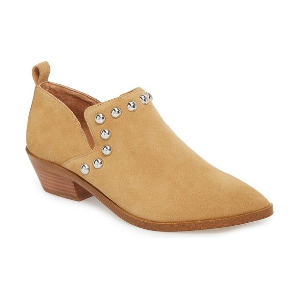 Rebecca Minkoff katen boot in beige suede - Smooth, lustrous studs line the vamp of an elegant...
