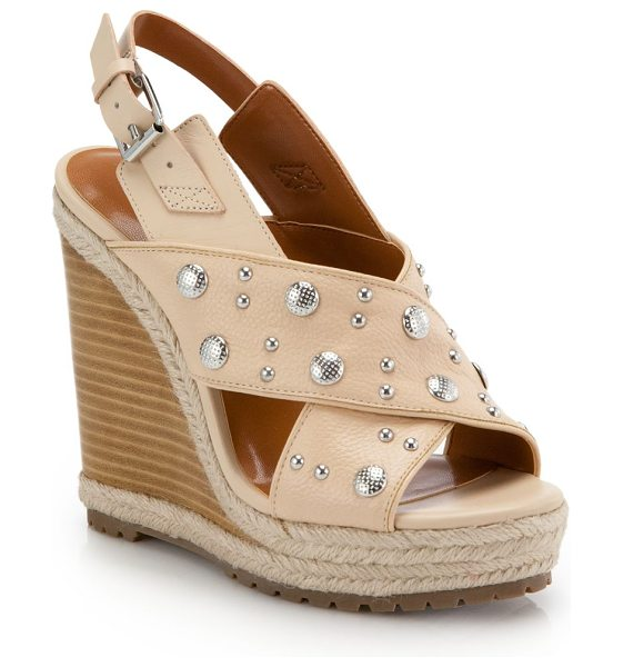 Rebecca Minkoff Kimiko studded wedge sandals in blush - Studs dot these rope-trimmed leather wedge sandals with...