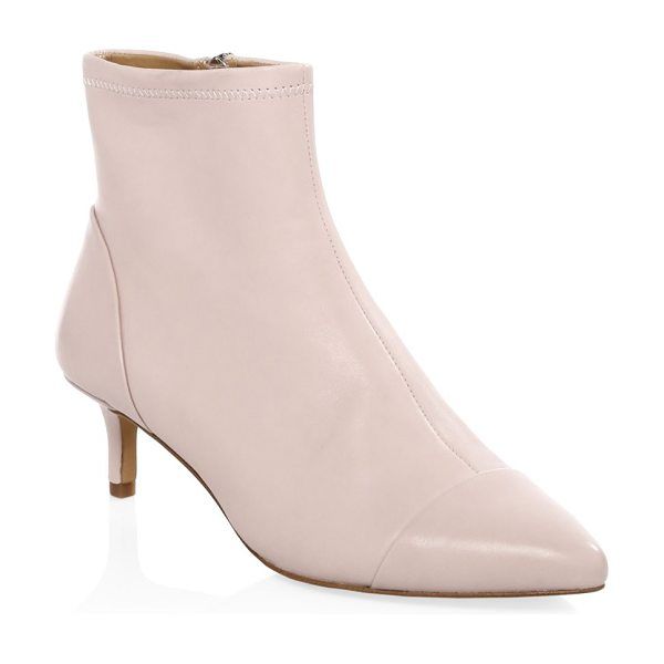 Rebecca Minkoff kitten heel leather booties in millenial pink - Elevate your street look in these statement leather...