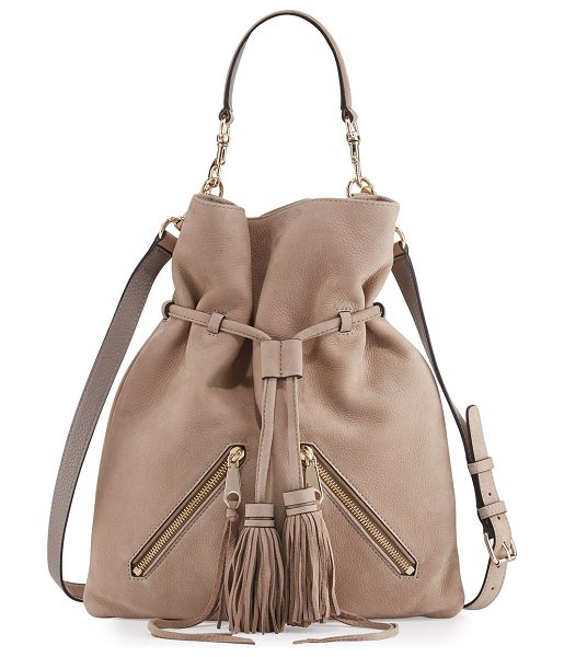 Rebecca Minkoff Large Moto Drawstring Crossbody Bag in almond