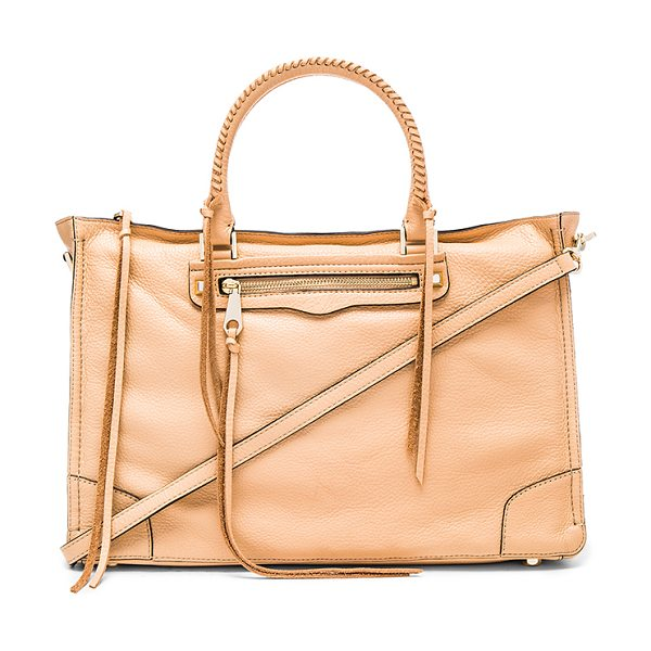 Rebecca Minkoff Large regan satchel bag in tan - Leather exterior with jacquard fabric lining. Zip top...