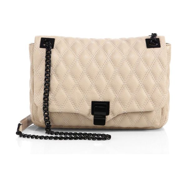 REBECCA MINKOFF leah medium shoulder bag - Elegant diamond-quilted leather bag with matte chain....