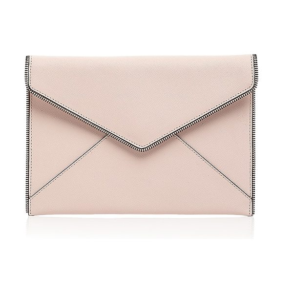 Rebecca Minkoff Leo Bride Tribe Saffiano Leather Clutch in soft blush/silver - Rebecca Minkoff Leo Bride Tribe Saffiano Leather Clutch-Handbags