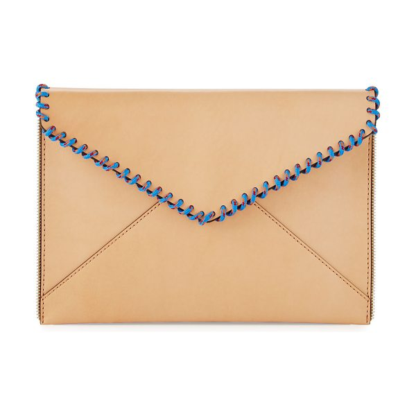 Rebecca Minkoff Leo Climbing Rope Envelope Clutch Bag in beige - Rebecca Minkoff smooth leather clutch bag. Multicolor...