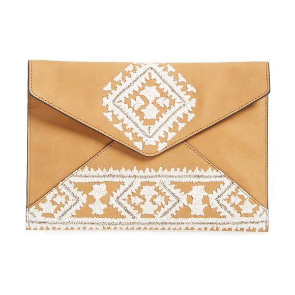 Rebecca Minkoff Leo clutch in almond/ silver hrdwr - Geometric embroidery lends this iteration of the...