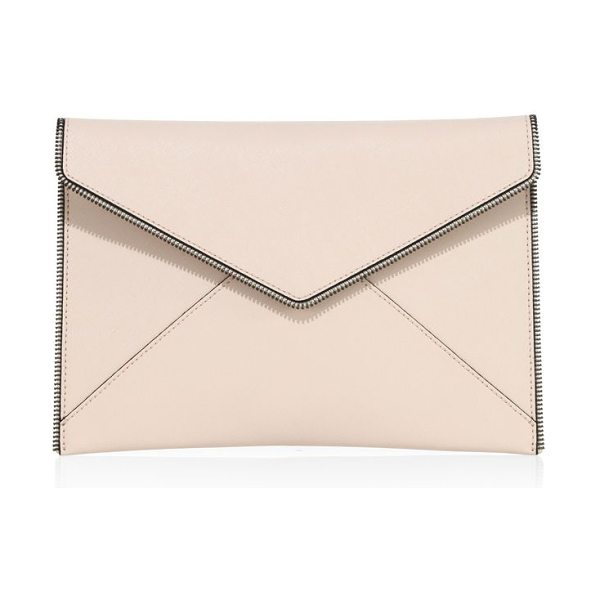 Rebecca Minkoff leo leather clutch in soft blush - Soft envelope clutch with zipper teeth details. Magnetic...