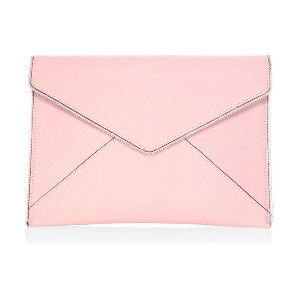 Rebecca Minkoff leo leather envelope clutch in vintage pink - Nubuck leather envelope clutch with zip-teeth trim....