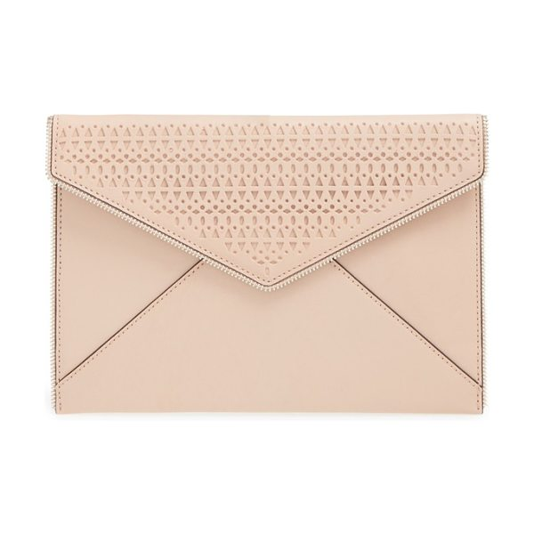 Rebecca Minkoff Leo perforated leather envelope clutch in latte - Open zip teeth trace the edges of a slim leather clutch...