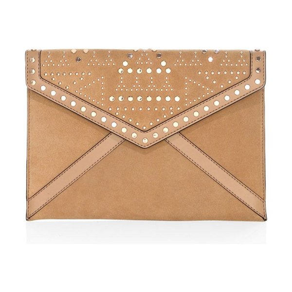 Rebecca Minkoff leo studded leather clutch in tan - Two-tone leather clutch punctuated by reflective studs....