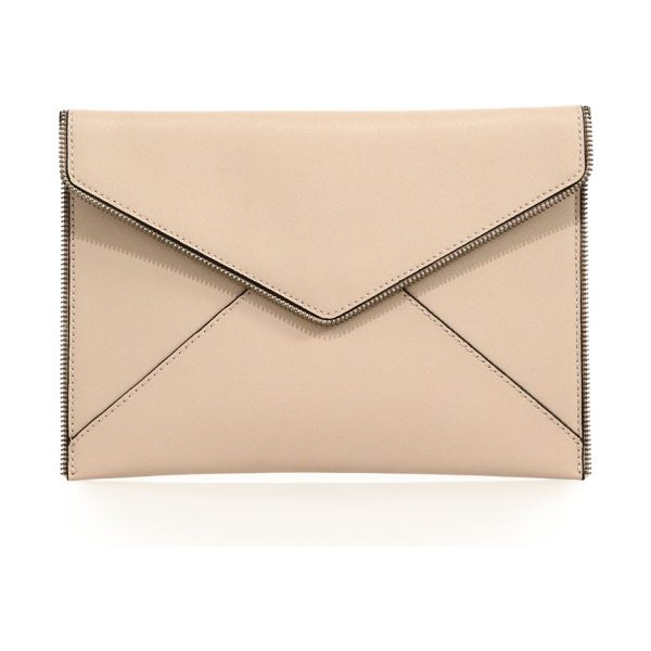 Rebecca Minkoff Leo zipper-trimmed leather clutch in blush - Edgy zipper teeth trim leather envelope clutchSnap flap...