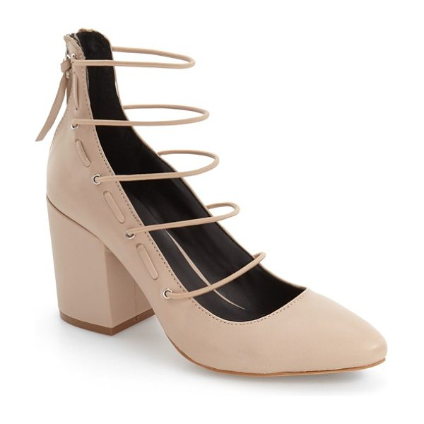 Rebecca Minkoff lexi cage pump in latte - Slender horizontal bands ladder dramatically up the...