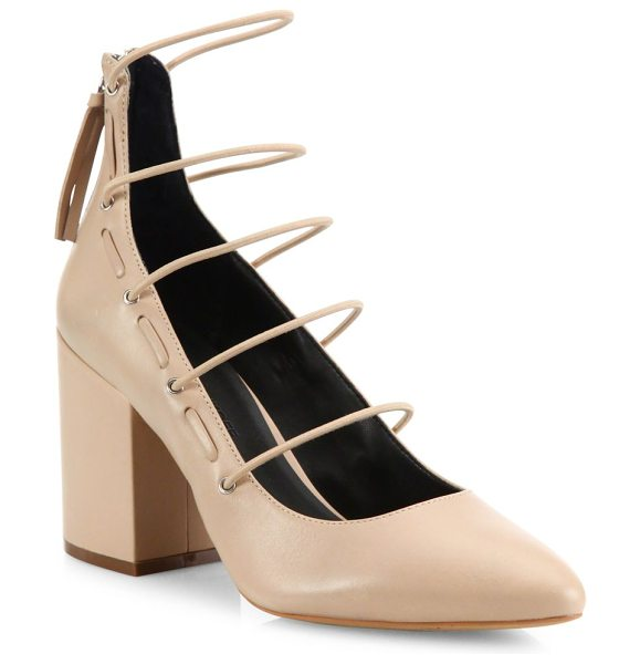 Rebecca Minkoff lexi strappy suede block-heel pumps in latte - Slim straps stack atop suede pump on low block heel....