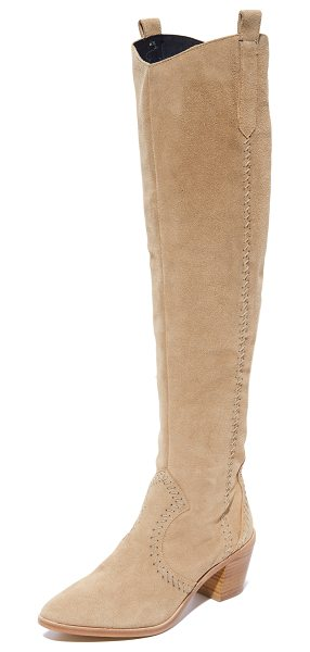 Rebecca Minkoff lizelle over the knee boots in taupe - Panels of suede accented with whipstitching compose...