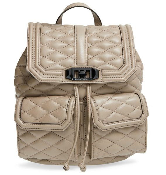 Rebecca Minkoff Love backpack in sandstone - Quilted leather comprises a chic backpack with a soft...