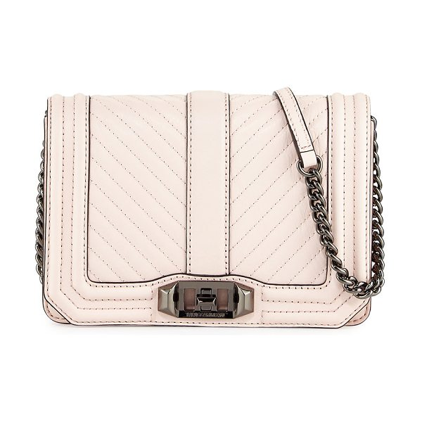 Rebecca Minkoff Love Small Chevron Quilted Crossbody Bag in soft blush - Rebecca Minkoff chevron-quilted leather clutch bag. Curb...