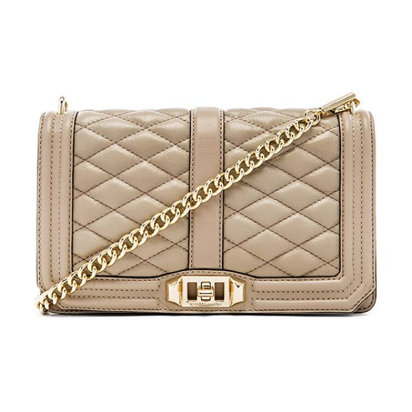 Rebecca Minkoff Love crossbody in taupe - Quilted leather exterior with printed fabric lining....