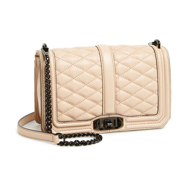 REBECCA MINKOFF Love crossbody bag in latte - Lush quilted leather lends elegant dimension to a sleek,...