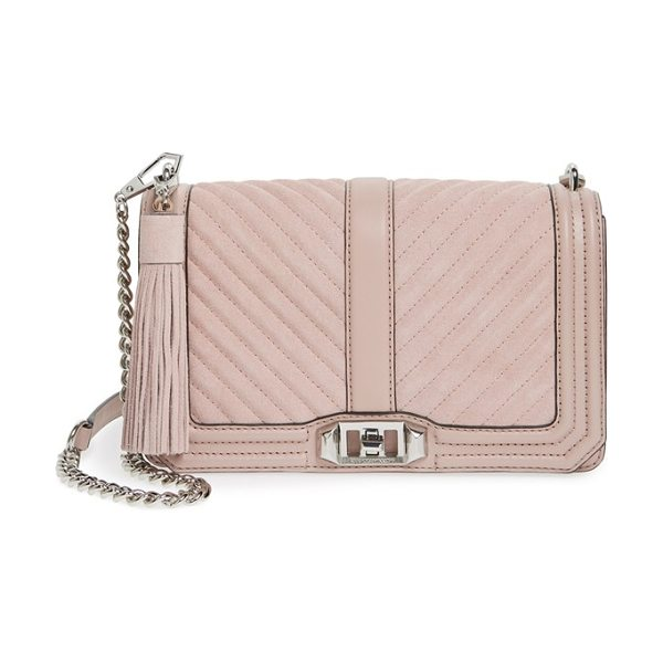 Rebecca Minkoff Quilted love suede crossbody bag with tassel in vintage pink/ silver hrdwr - With its chic mix of quilted suede and leather done in a...
