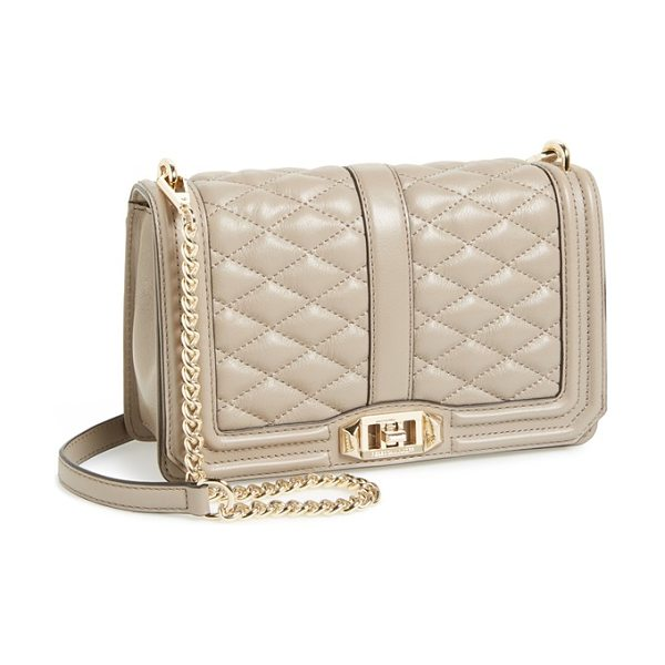 REBECCA MINKOFF Love crossbody bag in taupe - Lush quilted leather in a fall-ready hue lends elegant...