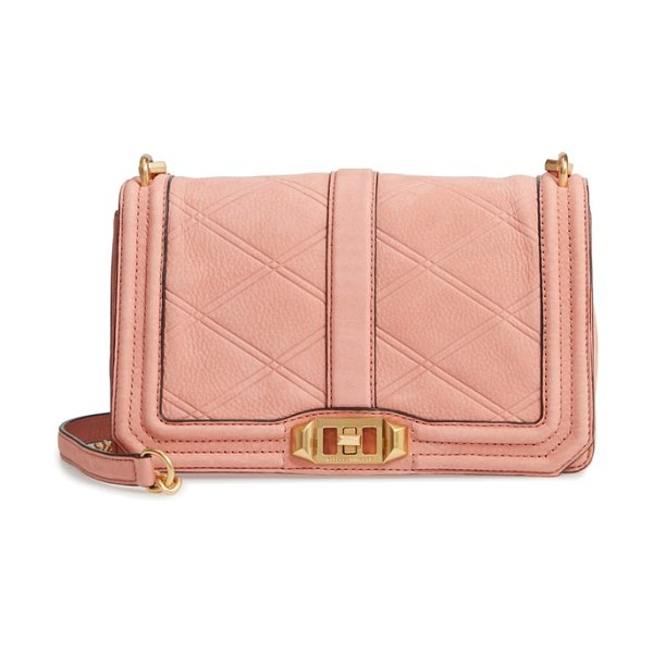 Rebecca Minkoff love nubuck crossbody bag in dusty peach - Pristine diamond quilting puts a contemporary spin on a...