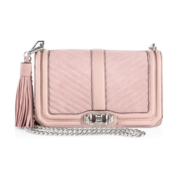 Rebecca Minkoff Love quilted leather & suede crossbody bag in vintagepink
