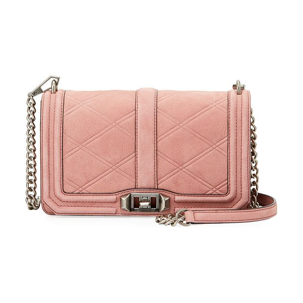 Rebecca Minkoff Love Quilted Nubuck Crossbody Bag in pink - Rebecca Minkoff nubuck leather crossbody bag with golden...