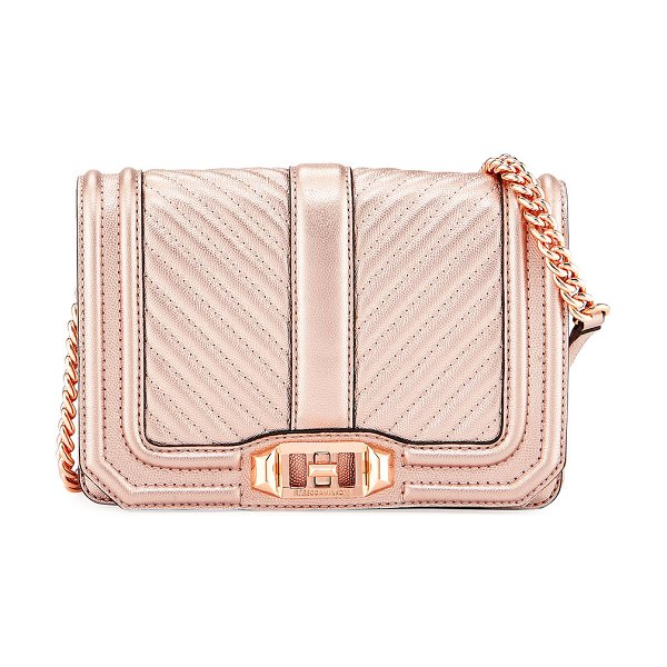 Rebecca Minkoff Love Small Quilted Metallic Leather Crossbody Bag in rose gold - EXCLUSIVELY AT NEIMAN MARCUS Rebecca Minkoff quilted...