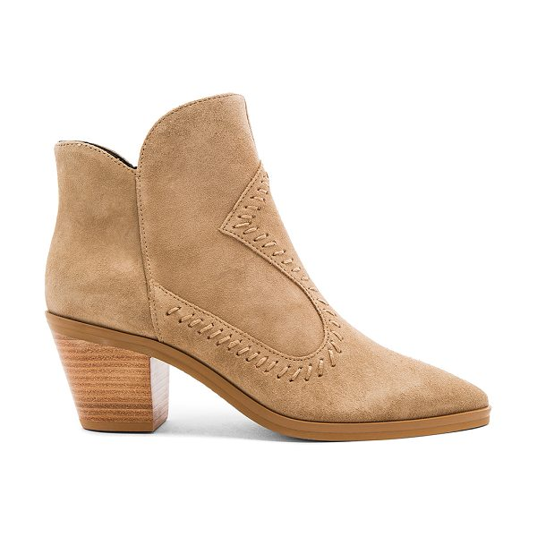 Rebecca Minkoff Lulu Bootie in tan - Suede upper with man made sole. Side zip closure....