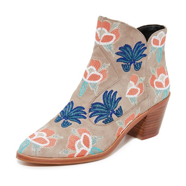 Rebecca Minkoff lulu too embroidered booties in floral embroidery/sand - Bright, floral embroidery adds a charming touch to these...