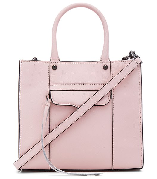 Rebecca Minkoff Mab mini tote in blush - Leather exterior with jacquard fabric lining. Top...