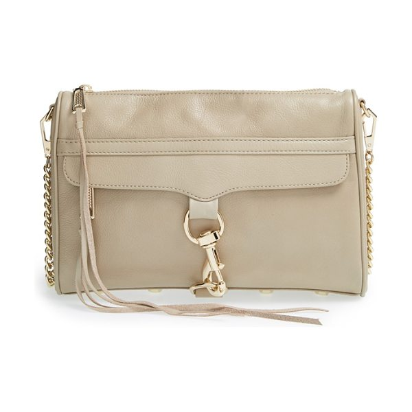 Rebecca Minkoff Mac convertible crossbody bag in khaki/ light gold - An oversized clip-lock boldly details the front flap of...