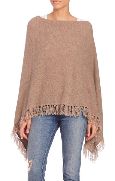 Rebecca Minkoff Macey cashmere cape in brown - Trend-right fringe trims cozy cashmere capeBateau...
