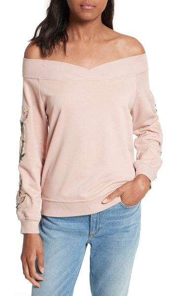 Rebecca Minkoff macey embroidered sweatshirt in pale pink - Whimsical embroidery adds a pretty finish to a blush...