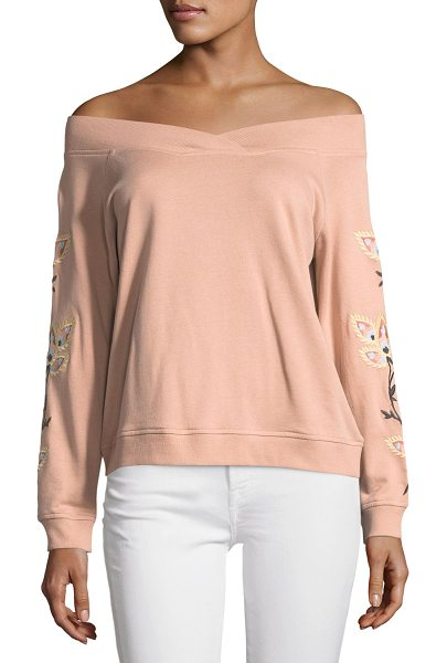 "Rebecca Minkoff Macey Off-the-Shoulder Embroidered Sweatshirt in pink - Rebecca Minkoff ""Macey"" sweatshirt with embroidery at..."