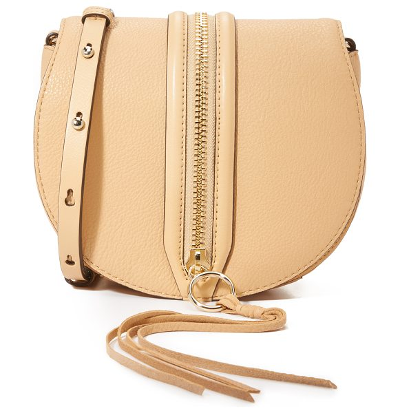 Rebecca Minkoff Mara saddle bag in biscuit - A decorative zip punctuates the top flap of this pebbled...